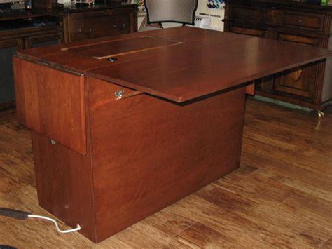 custom sewing machine cabinets sewing machine cabinet finished back executive desk style