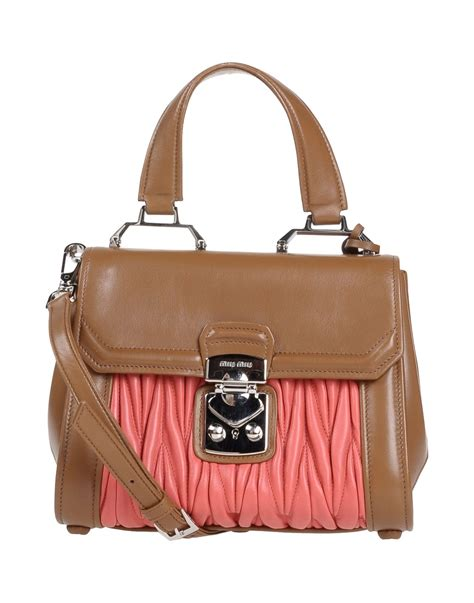 Miu Miu Spider Leather Bag by Lyst Miu Miu Handbag In Brown