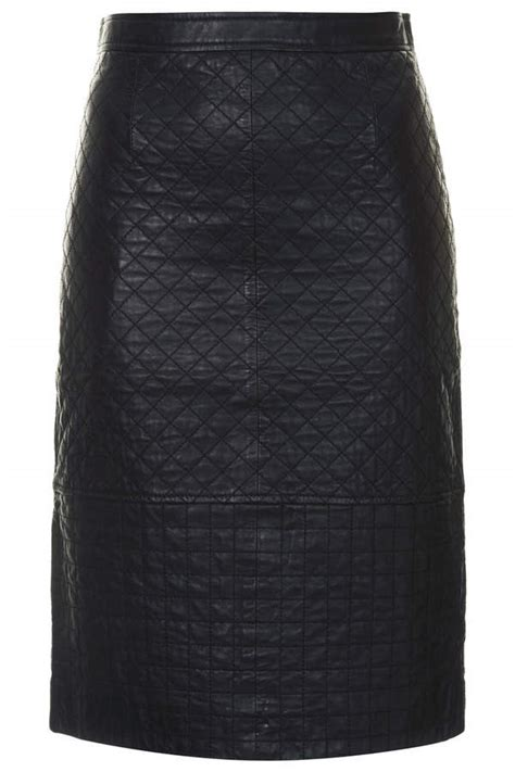 topshop black leather pencil skirt with quilted detail 100