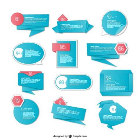 Origami Ui - origami bue infography elements free vectors ui