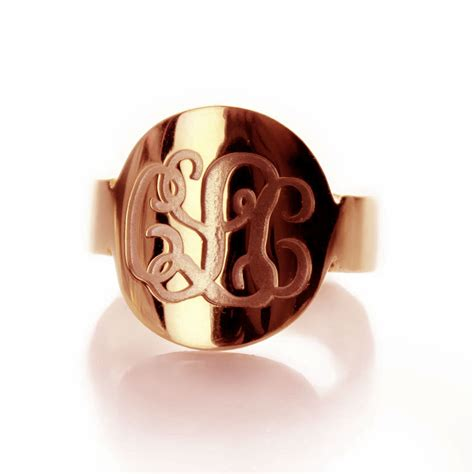 engraved script gold monogrammed ring