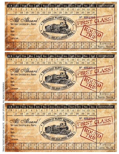 free printable vintage ticket template printable vintage train ticket birthday invitation
