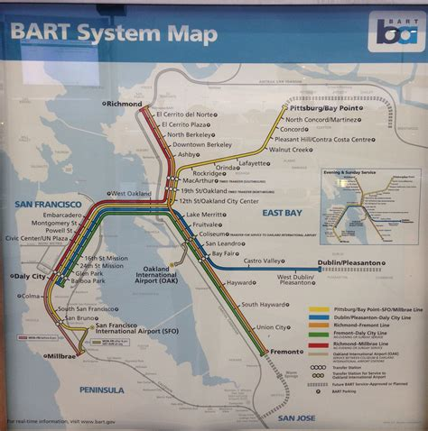 bart station map new bart san francisco bay area map with
