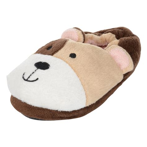 s animal slippers childrens cosy plush padded animal novelty slippers