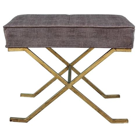 modern ottomans and stools pair of modern gold leafed stools or ottomans in tufted