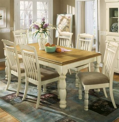 Cottage Dining Room Furniture Cottage White Honey Dining Room Extension Table 477 11