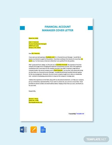 financial account manager cover letter word pages