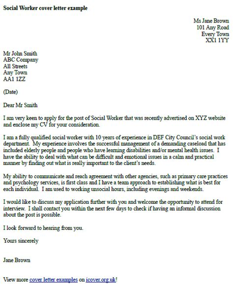 Service Letter A 135 Cover Letter For Social Service Worker 11153