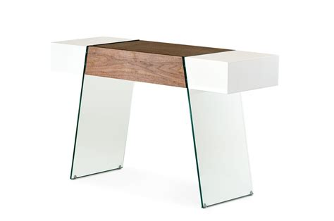 Floating Console Table Modrest Sven Contemporary White Walnut Floating Console Table