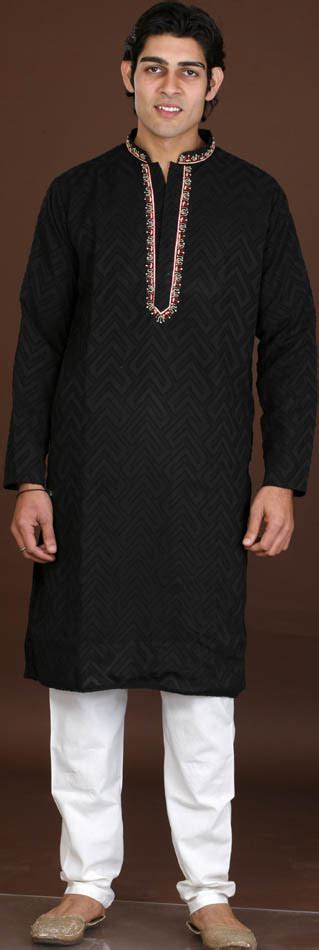 embroidery design for kurta neck black kurta set with embroidery on neck and self design