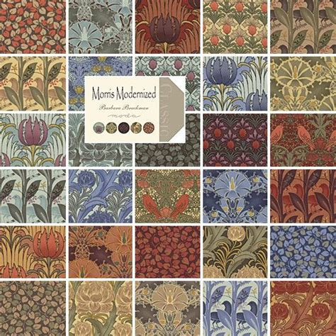 William Morris Patchwork Fabric - morris modernized eighth bundle by barbara brackman