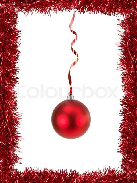 christmas tinsel as a border isolated against a white