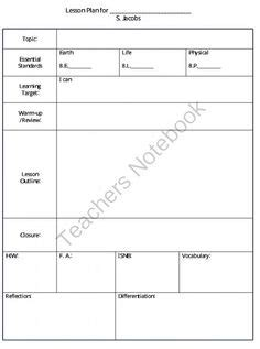 daily lesson plan template 1 www lessonplans4teachers