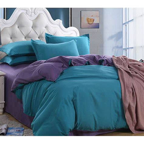 plain teal comforter double solid color plain pure purple and teal patchwork