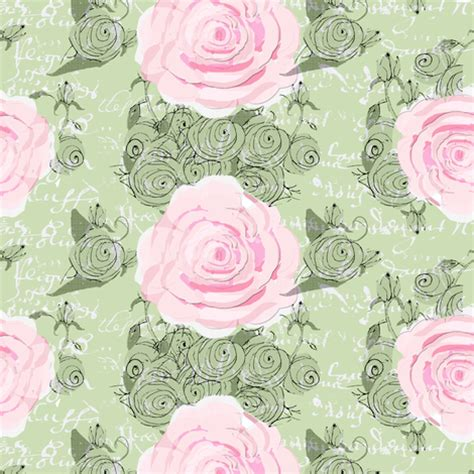 shabby chic roses and green rose bouquets fabric