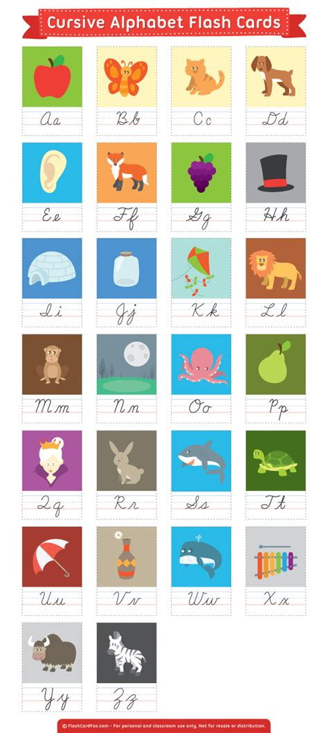 printable alphabet flashcards with pictures pdf free printable cursive alphabet flash cards download them