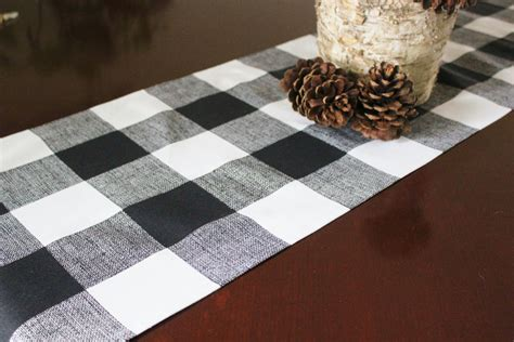 black and white plaid runner buffalo check runner cloth square black