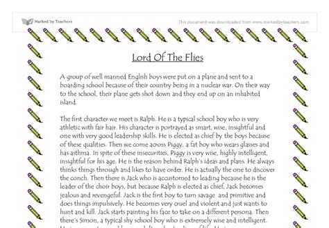 Lord Of The Flies Essay by The Lord Of The Flies Plot Outline Gcse Marked By Teachers