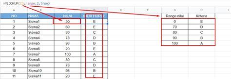 mencari nilai huruf  vlookup google spreadsheet
