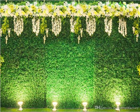 Wedding Backdrop Green by 2018 Green Leaves Wall Backdrop For Wedding White Yellow