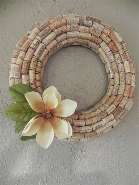 handmade wreath made of wine corks wine crafts flower the facts and drinks