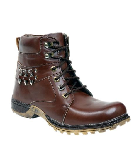 pipo brown synthetic leather boots price in india buy