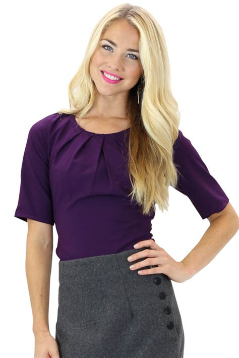 Pleated Collar Sleeve Top pleated collar modest top in purple