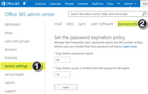 managing user password expiration in office 365 and
