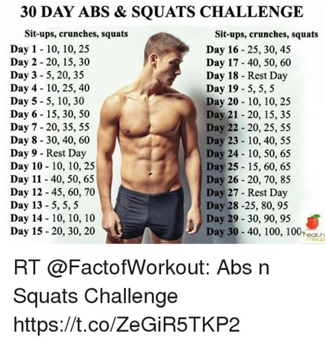 squats and abs challenge 30 day abs squats challenge sit ups crunches squats day