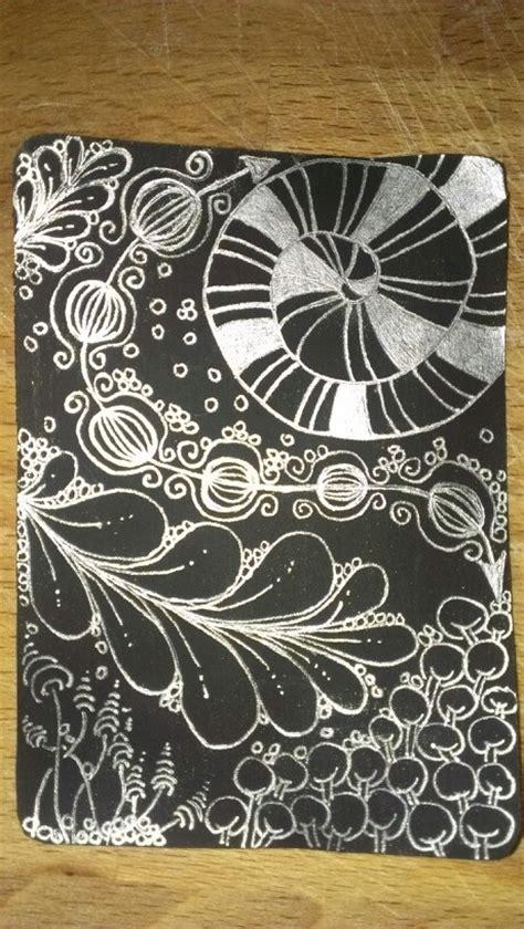zentangle pattern sler silver on white tile painted black zentangle zentangle