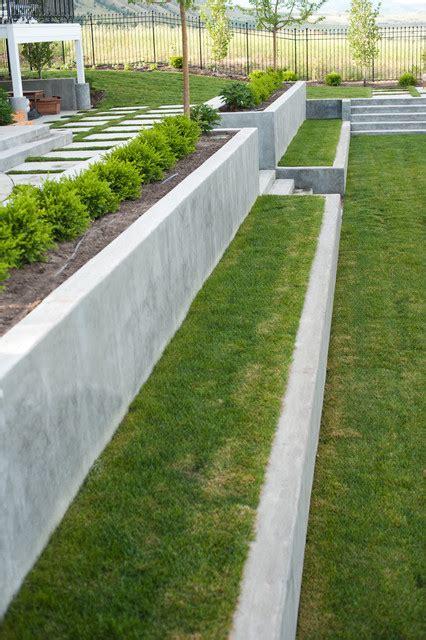 Concrete Terraces Modern Landscape Salt Lake City Concrete Garden Wall