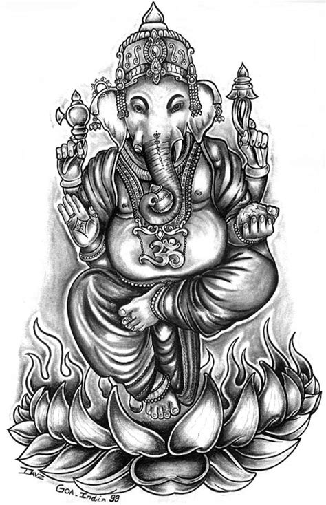 elephant god drawing indian statue of ganesha in a line art