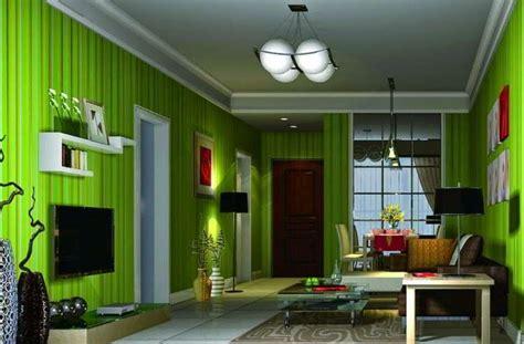 wallpaper dinding ruang tamu hijau interior rumah