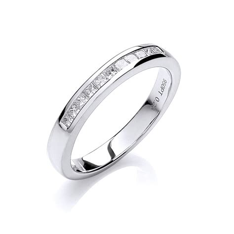 princess cut channel set half eternity ring 0 25ct