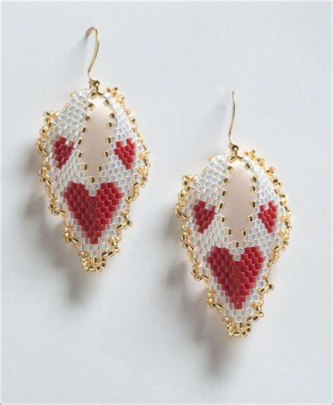 Beaded Leaf Earrings hearts russian leaf earrings by barbara henthorn at bead