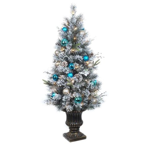 4 ft christmas tree with lights home accents holiday 4 ft pre lit flocked pine porch