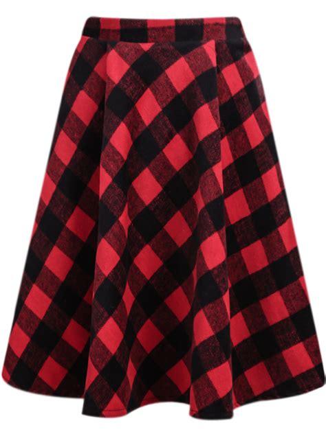 classic plaid midi skirt sheinside
