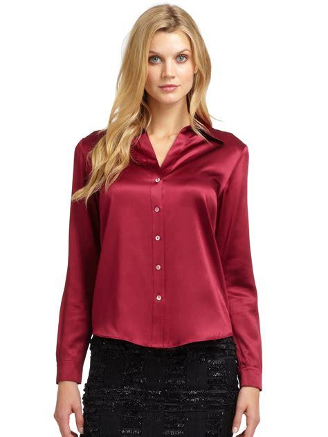 Blouse Atasan New York lafayette 148 new york silk satin blouse in berry lyst blouse bluze camasi