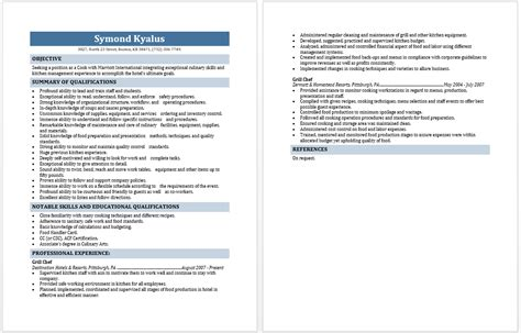grill cook description resume