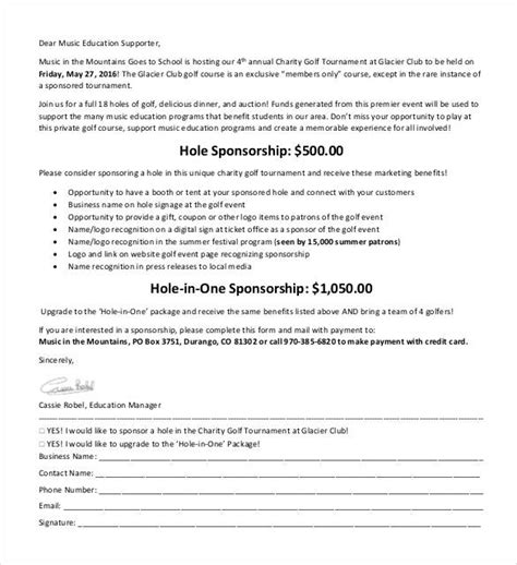 charity golf tournament sponsorship letter template 28