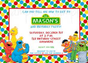 sesame birthday invitation sesame invitation