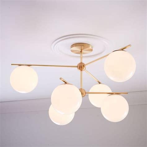 elm flush mount light sphere stem 6 light chandelier flushmount brass