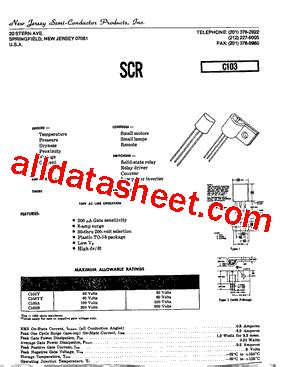 c103 datasheet pdf new jersey semi conductor products inc