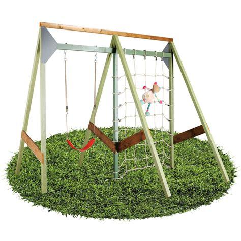 balancoire pour portique portique de jeu bois 1 balan 231 oire 1 filet d escalade