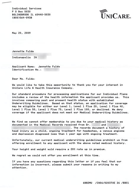 Decline Insurance Letter Sle My Health Insurance Letters Past Or Future Jennette Fulda