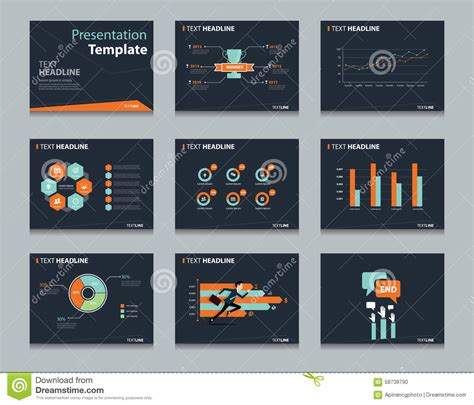 Black Infographic Powerpoint Template Design Backgrounds Concept Presentation Template