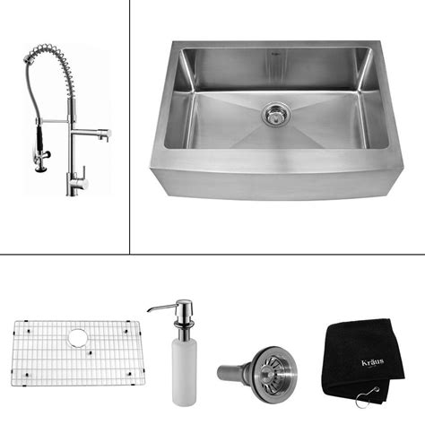 kraus bathroom accessories kraus all in one farmhouse apron front stainless steel 30