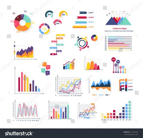 graph and diagram icon set stock vector illustration of data tools finance diagram graphic chart stock vector