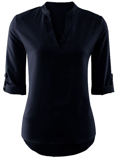 Neck 3 4 Sleeve Blouse s fashion solid v neck 3 4 sleeve pullover blouse