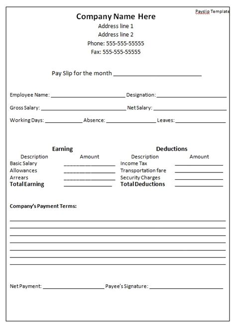 professional and detailed employee salary slip template vlashed